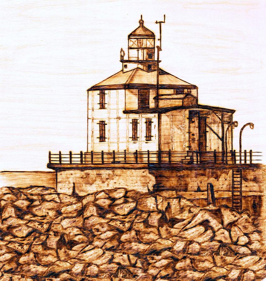 Lighthouse Pyrography - Ashtabula Harbor  by Danette Smith