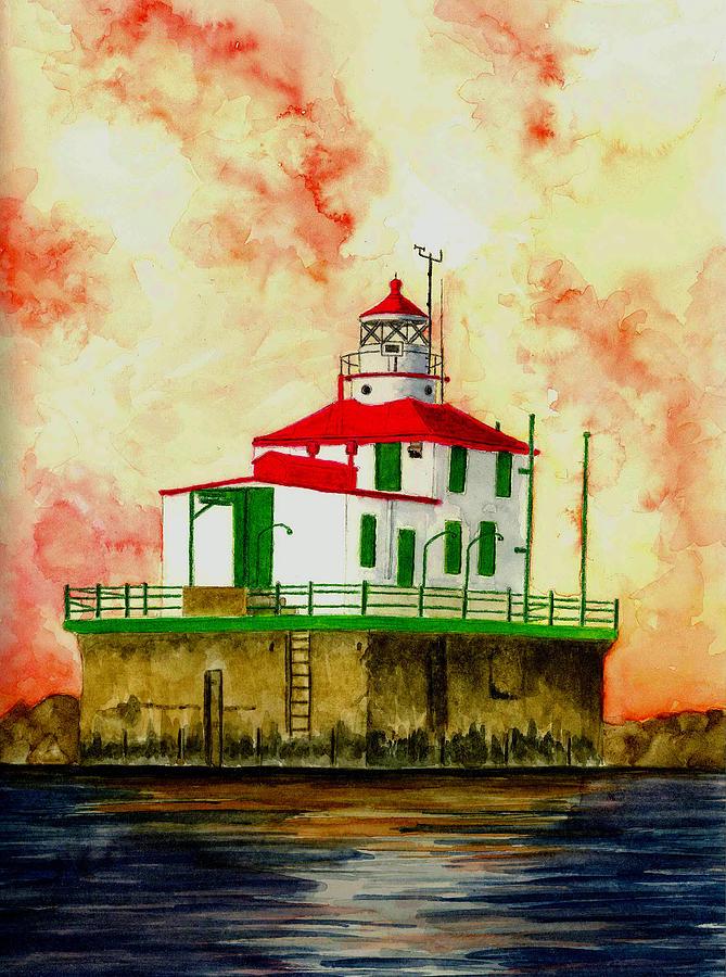 Lighthouse Painting - Ashtabula Lighthouse by Michael Vigliotti