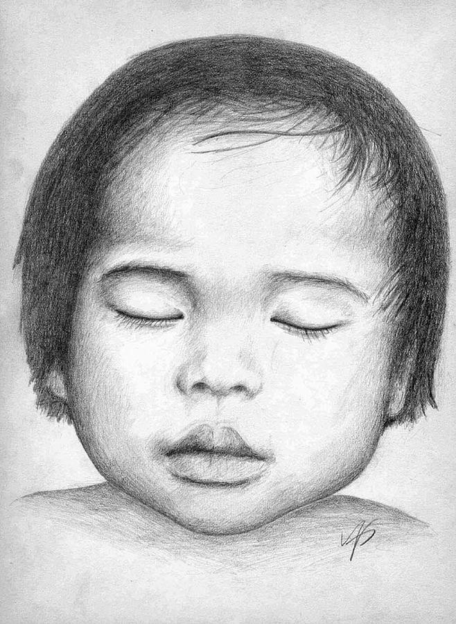 Baby Drawing - Asian Baby by Nicole Zeug