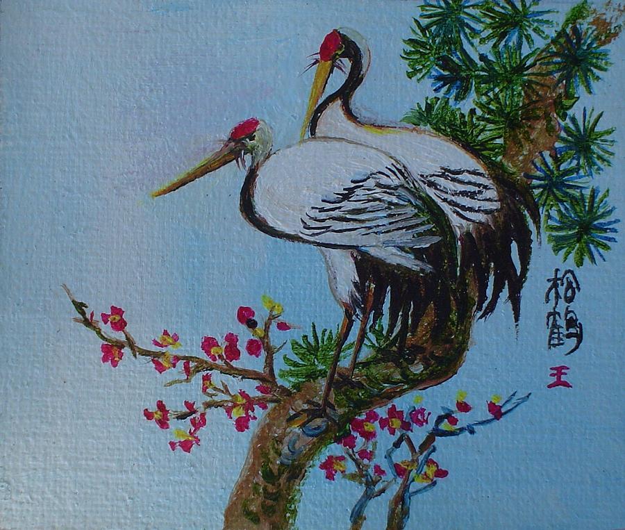 Asian Cranes Painting - Asian Cranes 4 by Min Wang