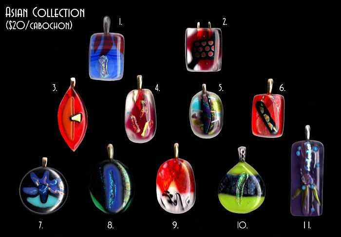 Asian Design Fused Glass Cabochons Mixed Media by Michelle Lake