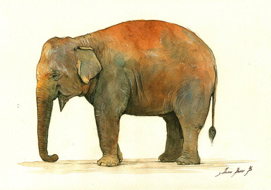 Asian Elephant Painting by Juan Bosco