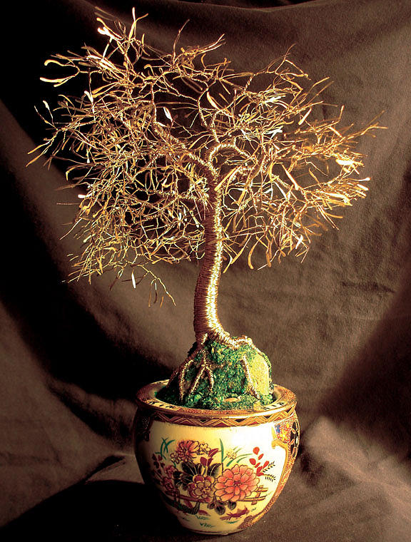 Asian Golden Leaves - Wire Tree Sculpture  Sculpture by Sal Villano