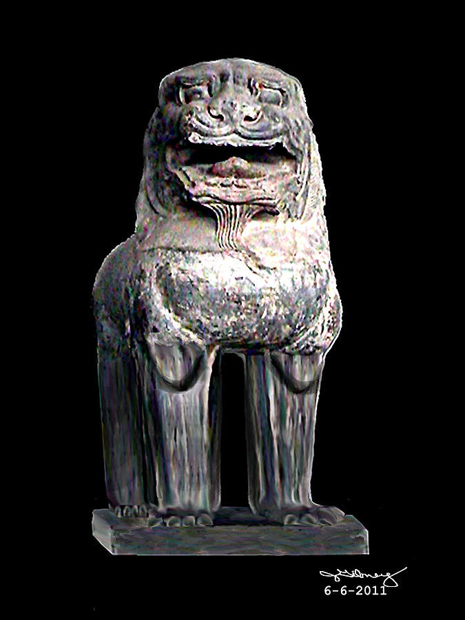 Asian Lion Digital Art - Asian Lion Jgibney The Museum by The MUSEUM Artist Series jGibney
