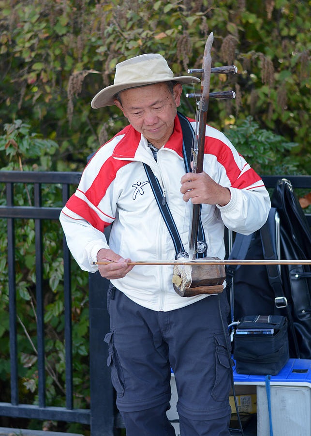 Erhu Photograph - Street Musician Playing Erhu by Connie Fox