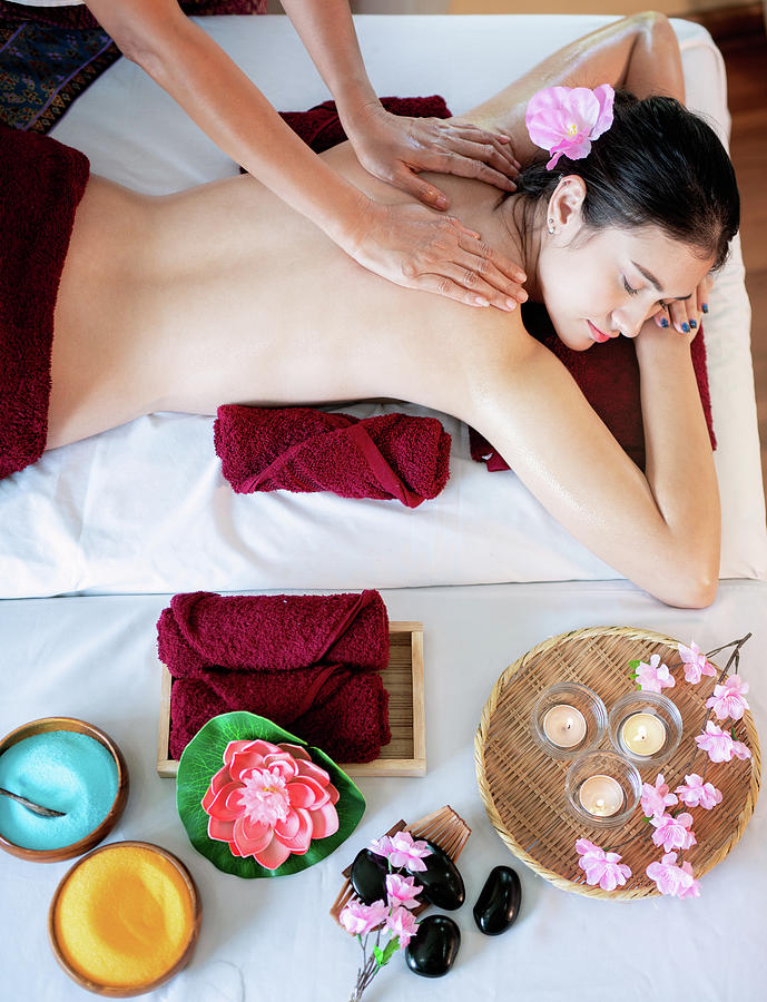 Asian Woman Sleep And Relax In Massage And Spa Center