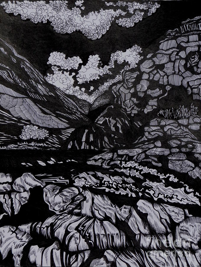 Pen And Ink Drawing - Asia.tension by Anna  Duyunova