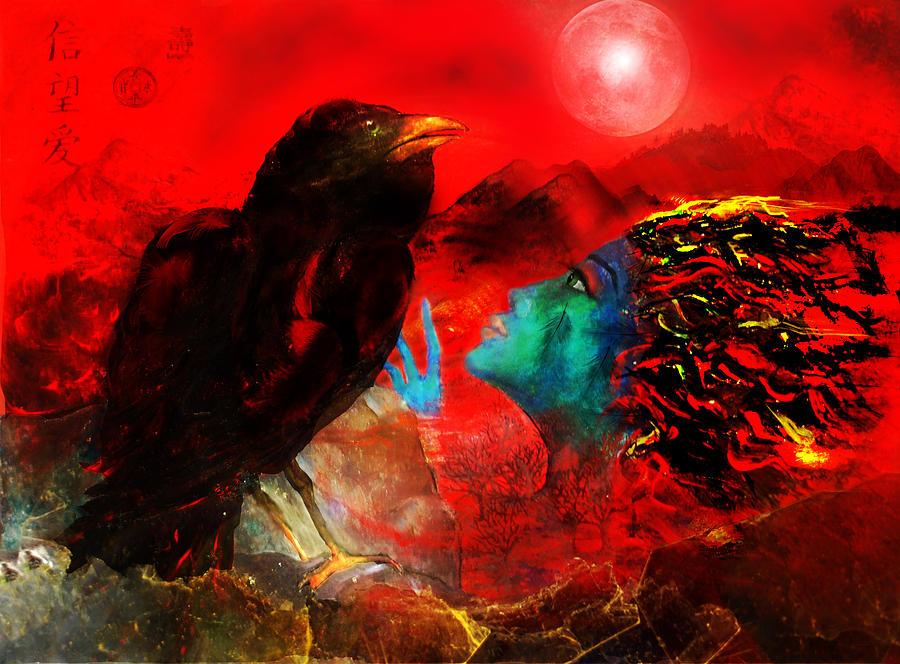 Raven Digital Art - Ask The Raven II by Patricia Motley