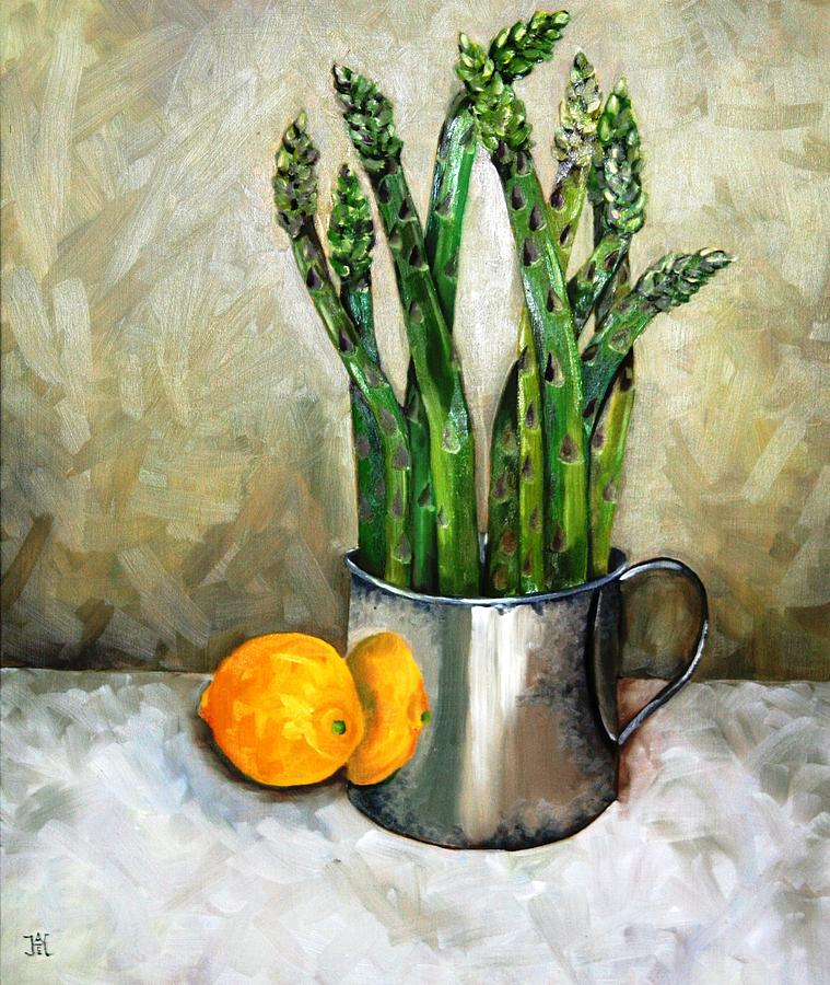 Asparagus Painting - Asparagus In A Sterling Cup by Amy Higgins