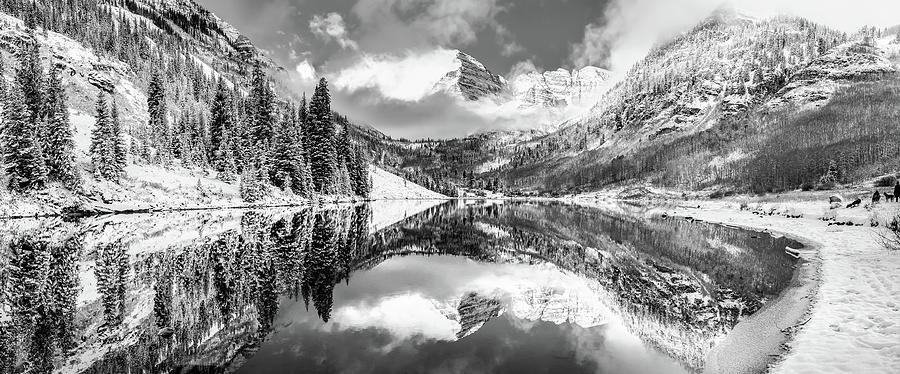 America Photograph - Aspen Colorado Maroon Bells Black And White Panorama by Gregory Ballos
