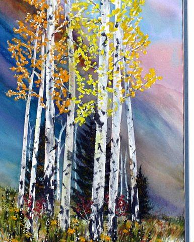 Aspen Glade Painting by Abad Sandoval