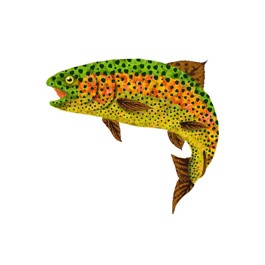Trout Digital Art - Aspen Leaf Rainbow Trout 1 by Agustin Goba