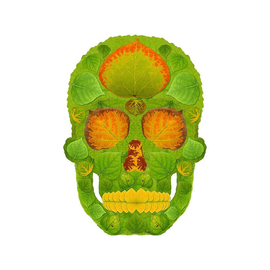 Skull Digital Art - Aspen Leaf Skull 10 by Agustin Goba