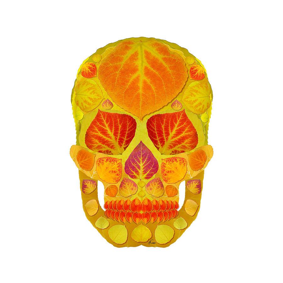Skull Digital Art - Aspen Leaf Skull 13 by Agustin Goba