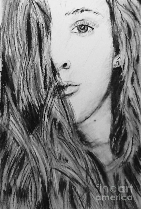 Portrait Drawing - Aspen by Regan J Smith