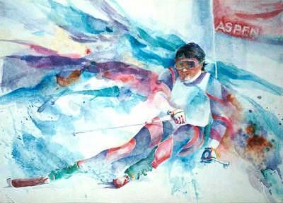 Skier Painting - Aspen Skier by H Lee Shapiro