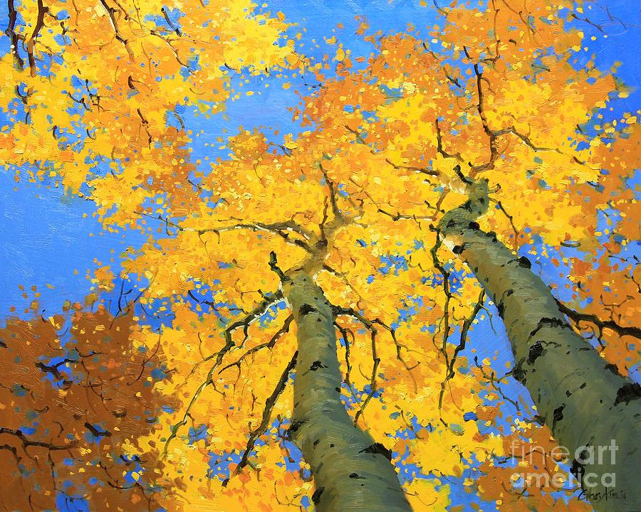 Nature Painting - Aspen Sky High  by Gary Kim