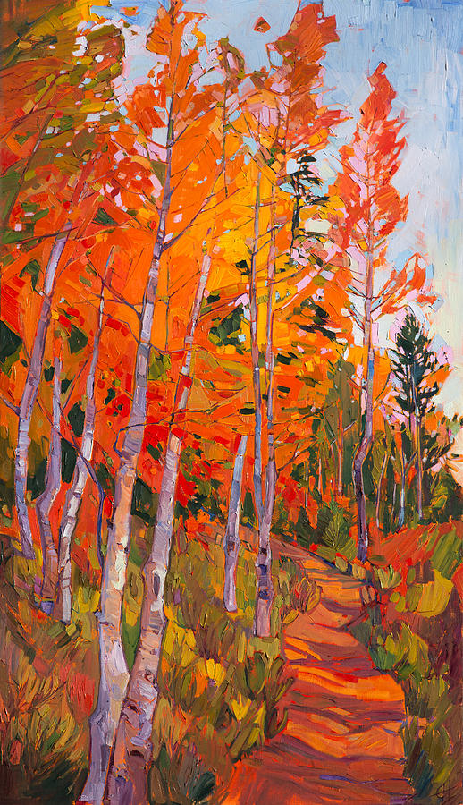 Aspen Trail Painting By Erin Hanson