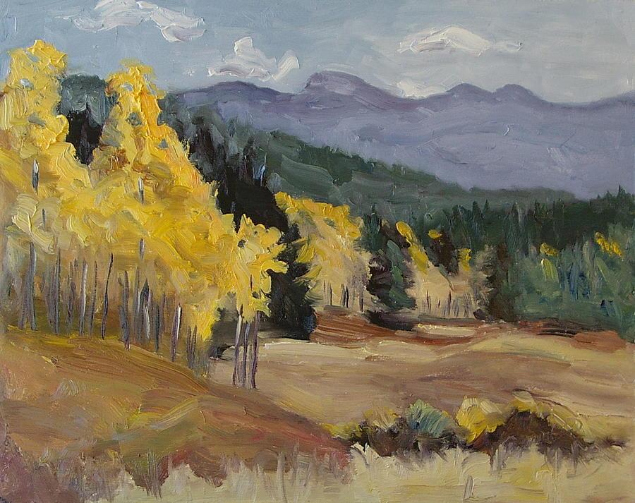 Aspen Painting - Aspen Tree Splash Of Fall Steamboat Springs Colorado by Zanobia Shalks