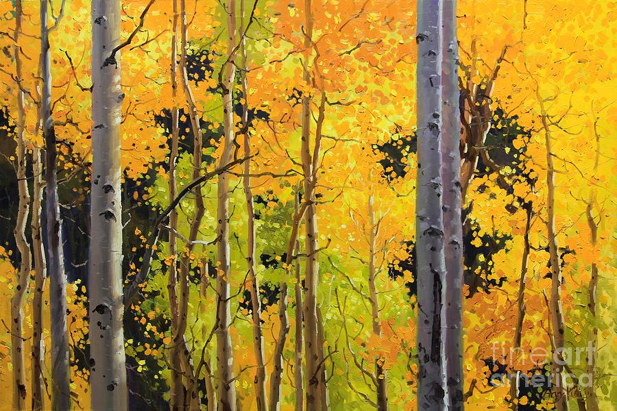 Aspen Trees Painting by Gary Kim