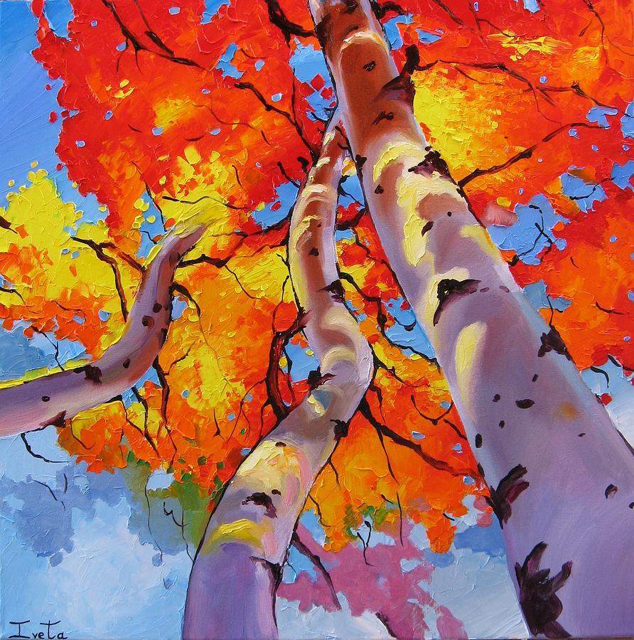 Aspen Trees Painting By Iveta Cullinan
