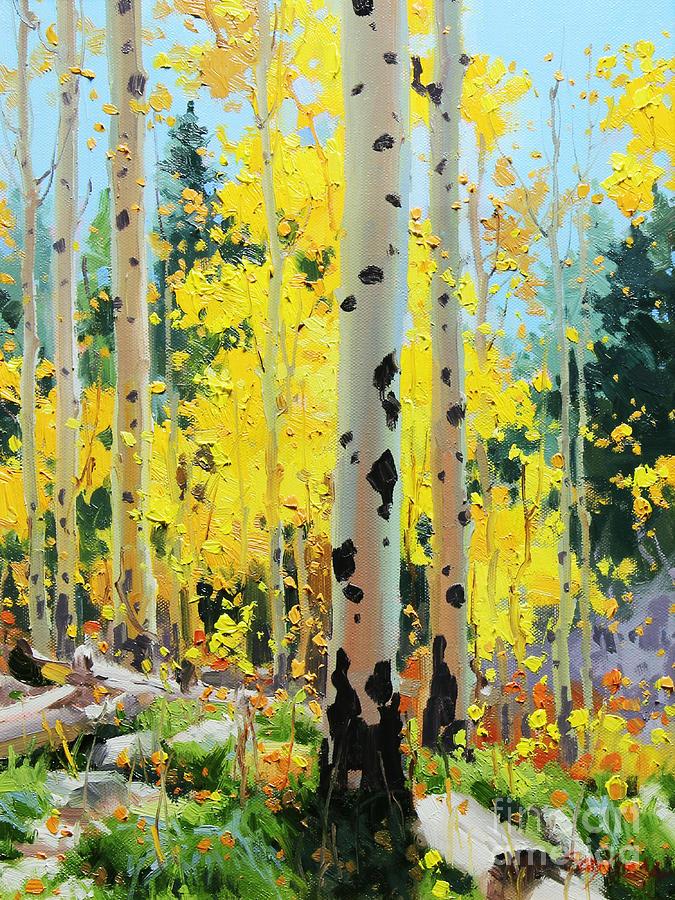 Aspens in Golden Light Painting by Gary Kim