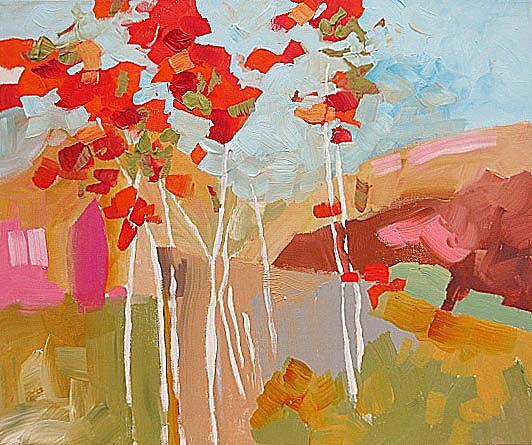 Original Painting - Aspens by Linda Monfort