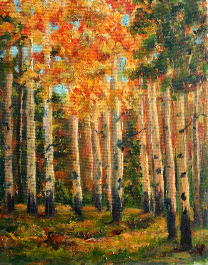 Landscape Painting - Aspens by Lucy Williams