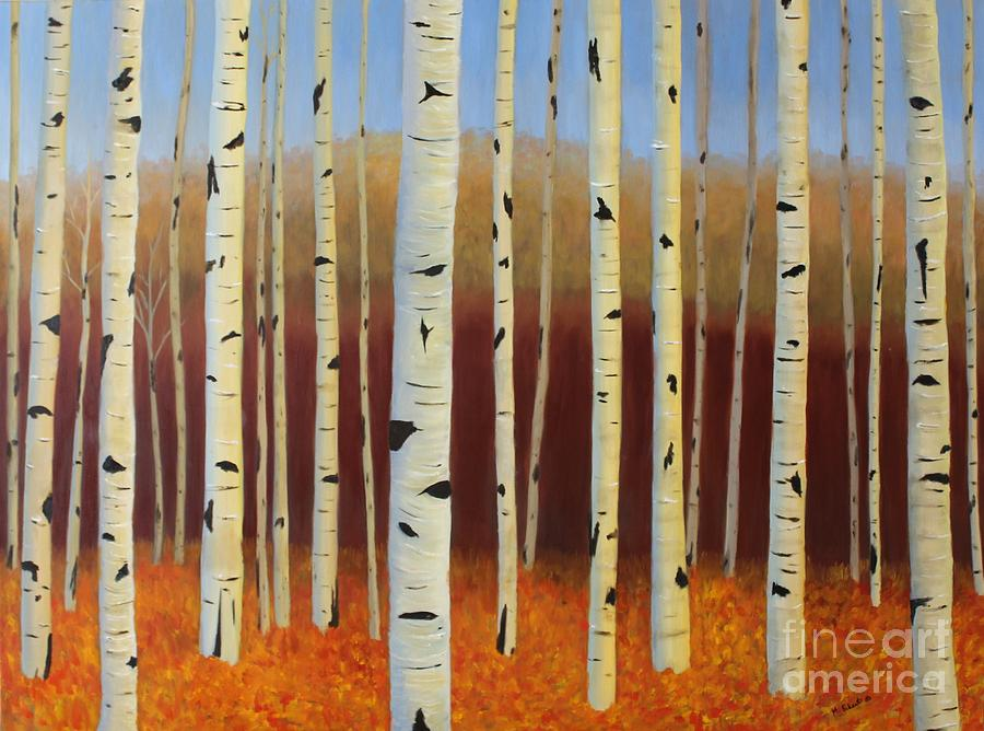 Landscape Painting - Aspens Near Victor by Mary Erbert