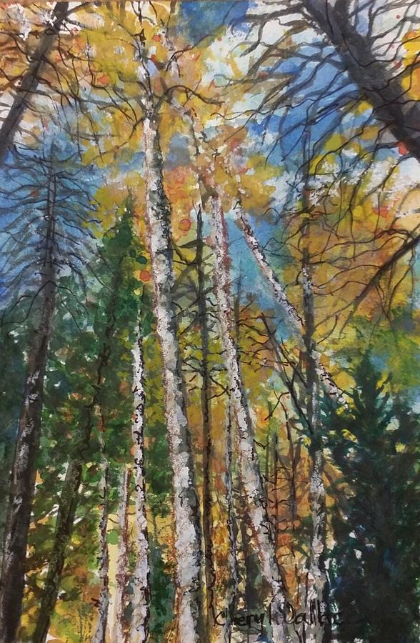 Arizona Painting - Aspens to the Sky by Cheryl Wallace