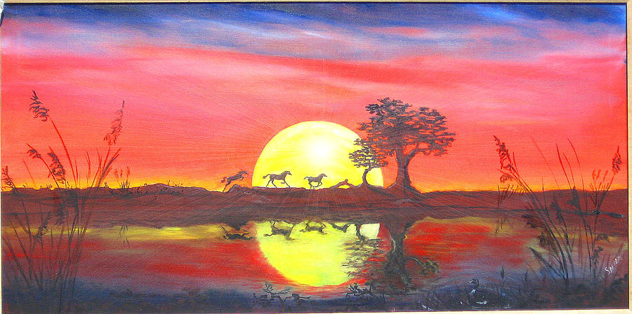 Horses Painting - Assateague Run by Dawn  Johansen