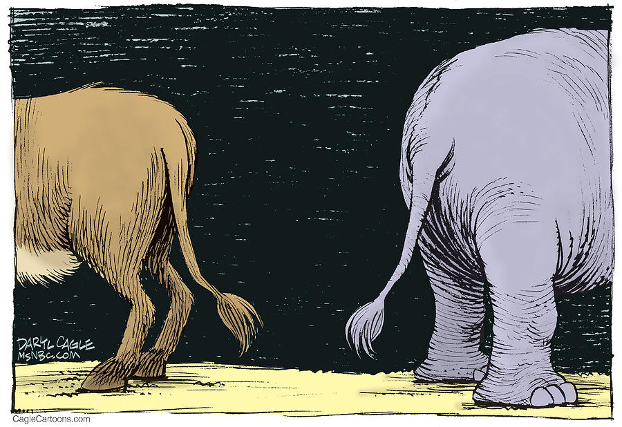 Donkey Drawing - Asses by Daryl Cagle