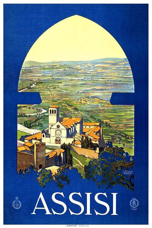 Assisi Italy - Vintage Travel Poster - Landscape Painting Painting
