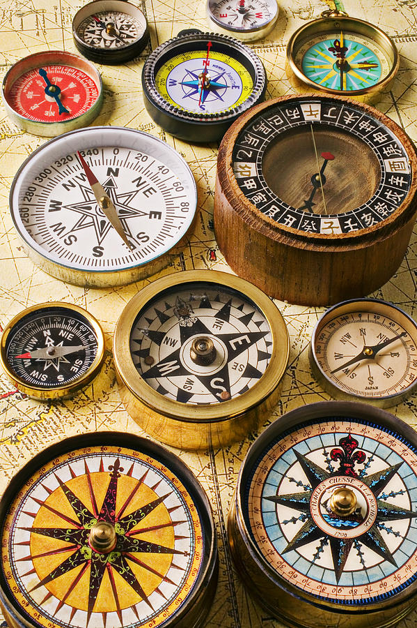 Compass Photograph - Assorted Compasses by Garry Gay
