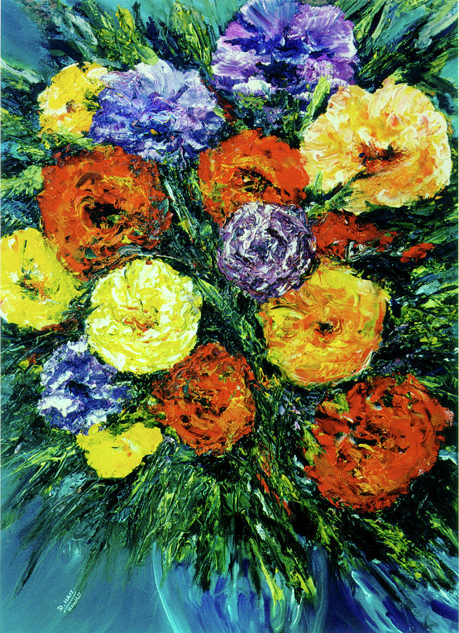 Hawaii Artist Painting - Assorted Flowers #191 by Donald k Hall