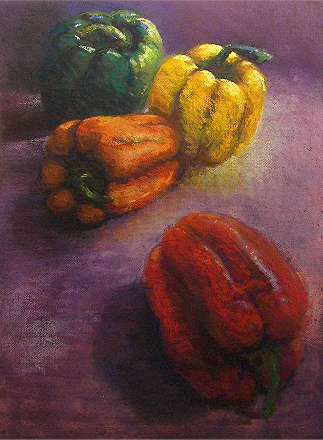 Orange Painting - Assorted Peppers by Tom Forgione