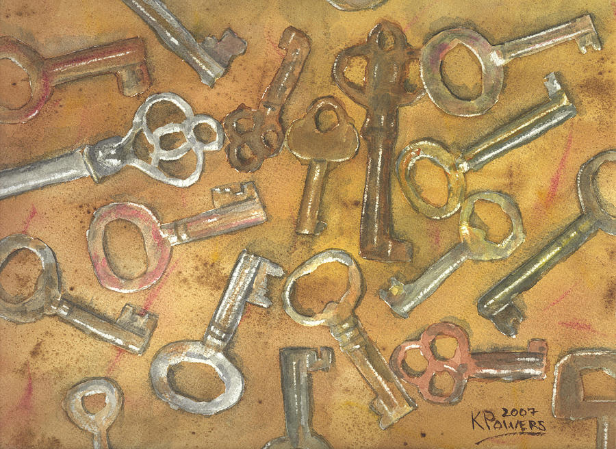 Skeleton Painting - Assorted Skeleton Keys by Ken Powers