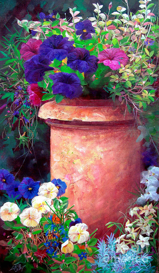 Floral Painting - Asters by Bo Li