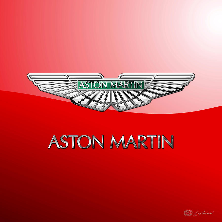 Car Photograph - Aston Martin - 3 D Badge on Red by Serge Averbukh