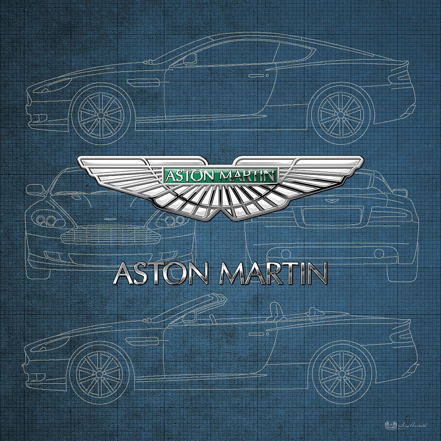 Car Photograph - Aston Martin 3 D Badge over Aston Martin D B 9 Blueprint by Serge Averbukh