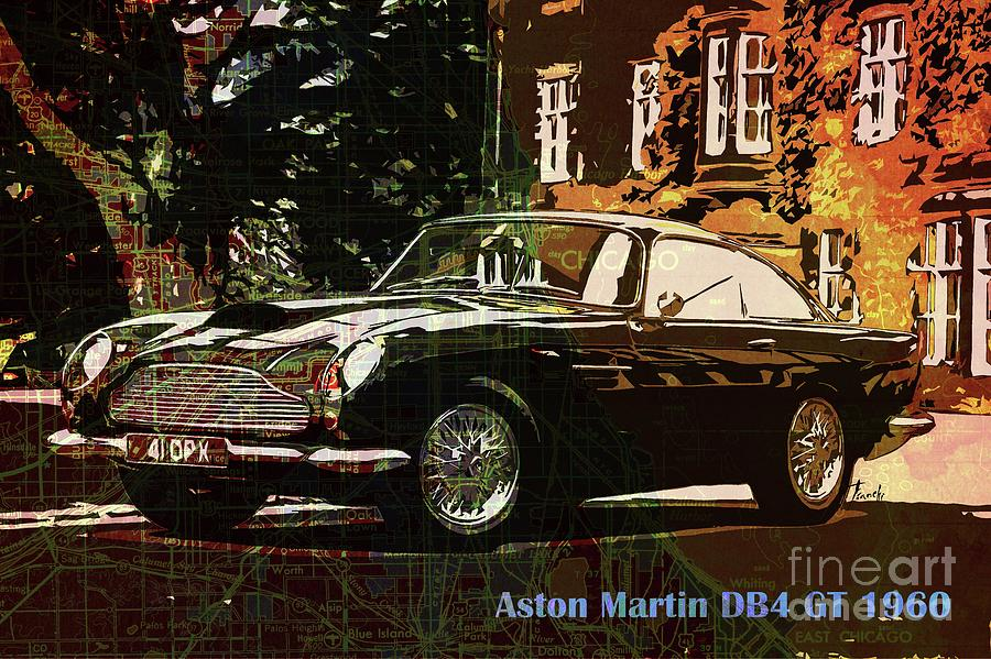 Aston Martin Db Gt On Old Chicago Map Drawing By Drawspots - Aston martin chicago