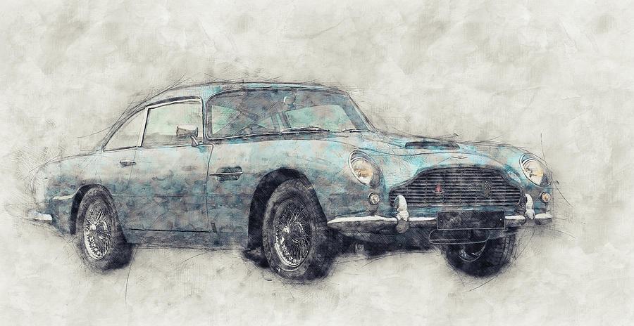 Aston Martin Db5  1- Luxury Grand Tourer - Automotive Art - Car Posters Mixed Media