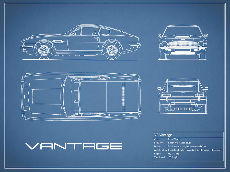 Aston Martin V8 Vantage Blueprint Photograph by Mark Rogan