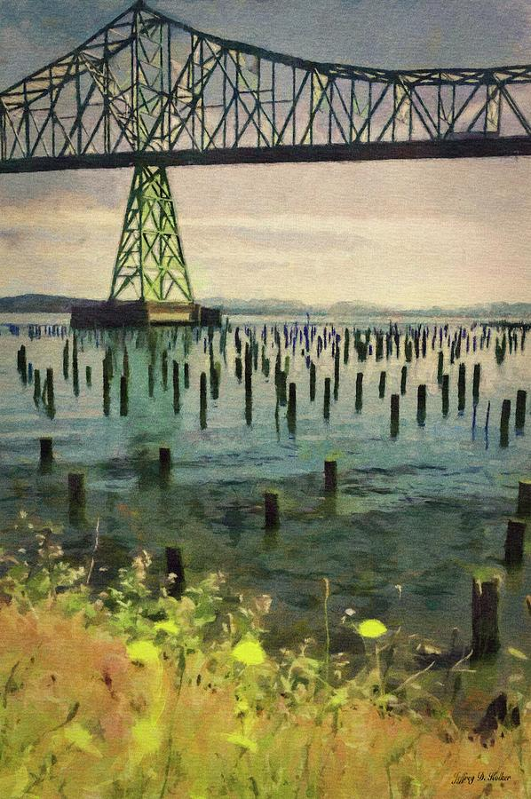 Astoria Waterfront, Scene 3 - Pier Posts Under the Bridge by Jeffrey Kolker