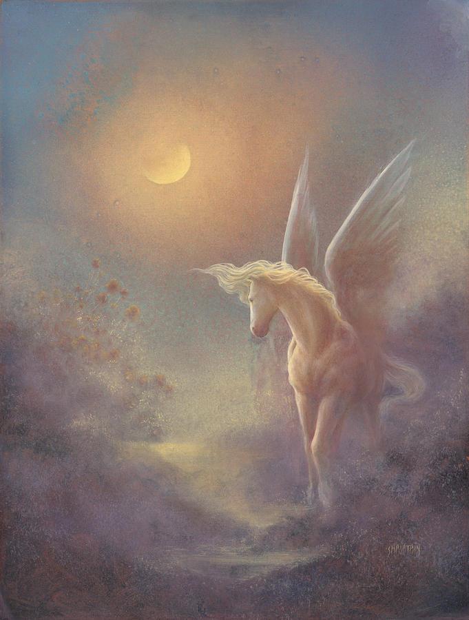 Pegasus Painting - Astral Pegasus by Jack Shalatain