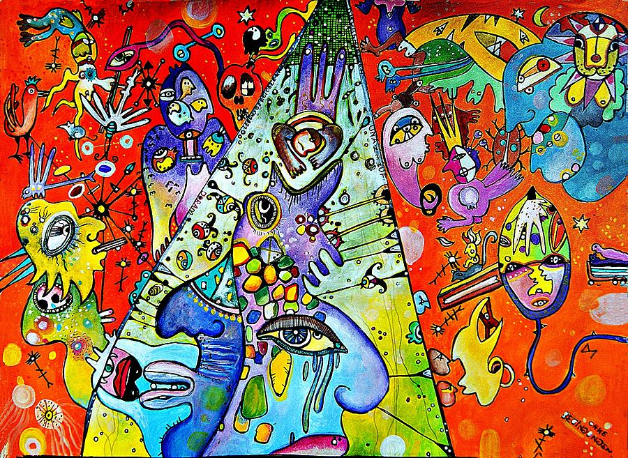 Outsider Painting - Astral Travel by Dora Mandragora