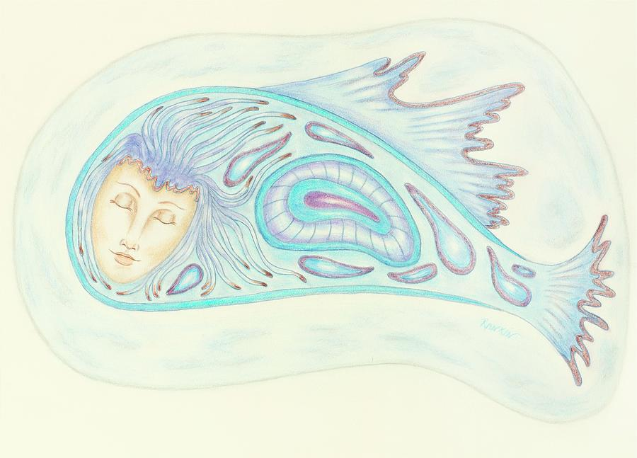 Woman Drawing - Astral Traveler - From A Dream Image by K S Rankin