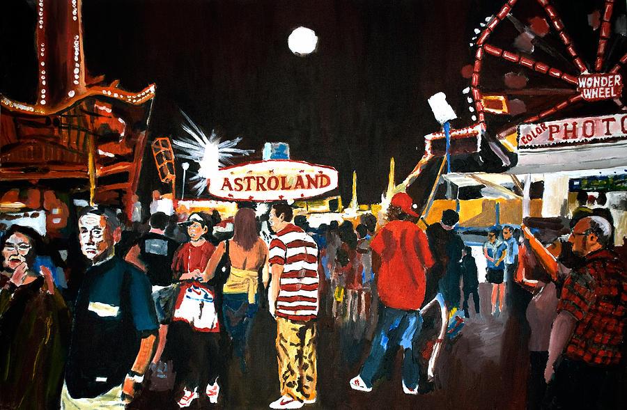 Coney Island Painting - Astroland by Wayne Pearce