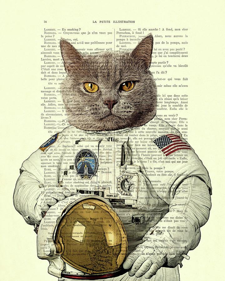 Astronaut Digital Art - Astronaut Cat Illustration by Madame Memento