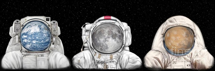 Astronaut Painting - Astronaut Triptych by Tharsis Artworks